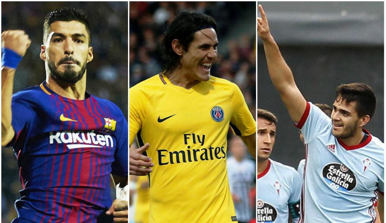 Suárez, Cavani y Maxi Gómez