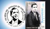 El matasello de Carlos Gardel con la fecha equivocada. Foto: El Correo