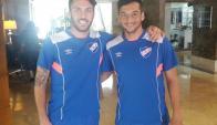 Sebastián Rodríguez y Gonzalo Porras seguirán el partido de Aguada desde Venezuela. Foto: @arrillagae