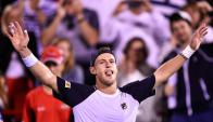 Diego Schwartzman tras el gran triunfo ante Dominic Thiem en Montreal. Foto: AFP.