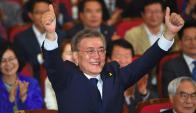 Moon Jae-In celebra su victoria en las elecciones surcoreanas. Foto: AFP.