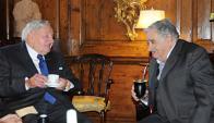 En Nueva York, David Rockefeller con José Mujica en 2013. Foto: Presidencia.