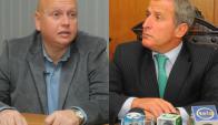 José Luis Rodríguez y Juan Pedro Damiani se cruzaron por la AUF. Fotos: Archivo El País