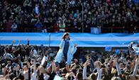 La expresidenta fue la única oradora ayer en el estadio Julio Grondona. Foto: Reuters