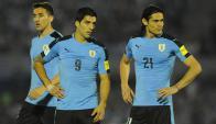 """¡Qué dupla! El """"Pistolero"""" Luis Suárez y el """"Matador"""", Edinson Cavani, baluartes del ataque de la selección en las Eliminatorias."""