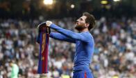 El festejo de Lionel Messi tras el gol en la hora del clásico. Foto: EFE