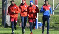 Ayer. Gonzalo Porras en recuperación de su esguince junto a Romero, Otalvaro y Ramírez