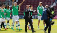 Brendan Rodgers celebra su título con el Celtic. Foto: EFE