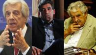 Tabaré Vázquez, Raúl Sendic y José Mujica. Foto: El País