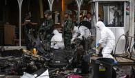 Así quedó el estacionamiento del shopping tailandés tras la explosión. Foto: AFP.