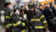 Un tren descarrilló en Brooklyn. Foto: AFP