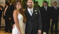 Lionel y Antonela se casaron en Rosario, su ciudad natal. Foto: AFP