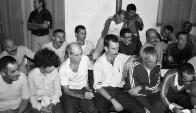 Los rehenes tupamaros liberados en 1985. Foto: AFP.