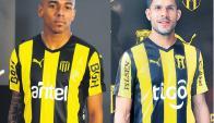 Aurinegros. Peñarol y Guaraní lucen el mismo template en sus camisetas.