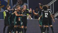 El festejo de Real Madrid con el segundo gol en la Supercopa. Foto: EFE