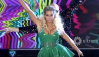 Noelia Marzol en plena performance con Muscari (Captura tv)