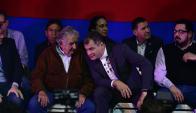 Mujica junto al expresidente de Ecuador, Rafel Correa y el diputado Alejando Sánchez. Foto: F. Ponzetto