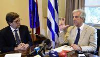 Miranda y Vázquez en conferencia de prensa. Foto: Marcelo Bonjour