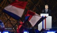Macron durante su primer acto como presidente electo de Francia. Foto: EFE