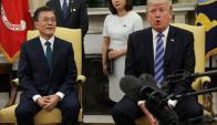 Moon Jae-In y Donald Trump en la Casa Blanca. Foto: Reuters.