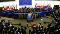 Sepelio de Helmut Kohl en el Parlamento Europeo. Foto: Reuters.