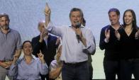Macri en el búnker de Cambiemos festejando la victoria nacional. Foto: EFE