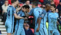 El festejo de Manchester City por el gol de Sergio Agüero. Foto: AFP
