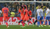 El festejo de Mauricio Lemos tras su gol. Foto: EFE