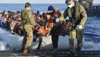 Puertos italianos reciben al 86% de los refugiados rescatados. Foto: EFE