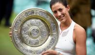 Garbiñe Muguruza venció en Wimbledon. Foto: EFE