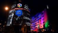 Fachada de la BBC al presentar el resultado de las elecciones. Foto: AFP
