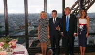 Donald y Melania Trump se reunieron con Emmanuel y Brigitte Macron. Foto: Reuters
