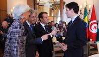 Lagarde (FMI), Gentiloni (Italia), Macron (Francia) y Trudeau (Canadá). Foto: Reuters