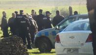 Despliegue policial durante reconstrucción del asesinato de Susana Icardi. Foto: sanjoseahora.com.uy
