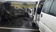 El choque en ruta 5 de ayer dejó tres personas fallecidas. Foto: Gentileza lector