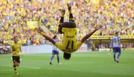 Pierre-Emerick Aubameyang festejando el gol del Borussia Dortmund. Foto: AFP
