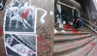 Funcionarios de distintas sedes vandalizadas debieron limpiar fachadas. Foto: F. Ponzetto