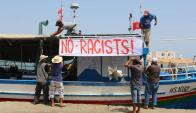 Protestas impidieron que el C-Star llegara a Túnez. Foto: AFP