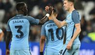 Manchester City celebra su triunfo. Foto: AFP
