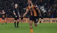 Abel Hernández festejando su gol para el Hull City. Foto: prensa Hull