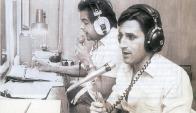 Muñoz junto a Dardo Luis Gregórez en Radio Oriental. Foto: archivo