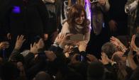 Cristina Fernández en el búnker de Unidad Ciudadana. Foto: DyN.