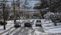 Santiago de Chile con nieve. Foto: AFP