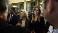 Sendic, Guianze y María Elena Boschi, subsecretaria de la Presidencia del Consejo de Ministros de Italia. Foto: AFP