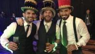 Ever Banega, Lionel Messi y Luis Suárez en el casamiento del 10. Foto: @slaybarca / Instagram