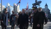 El presidente Vázquez encabezó el acto oficial en la Plaza Independencia. Foto: F. Flores