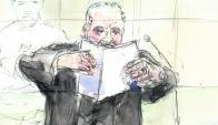 Carlos: dibujo del terrorista venezolano durante el juicio de ayer. Foto: AFP