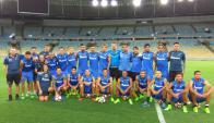 En Maracaná. El plantel negriazul hizo el reconocimiento del mítico estadio carioca. Foto: @Liverpoolfc1915