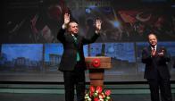 El presidente turco ayer en un acto de campaña. Foto: Reuters