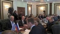 Vázquez se reunió con la presidenta del Senado ruso. Foto: Efe.